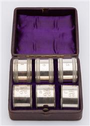 Sale 8590A - Lot 82 - A set of three plus three boxed silver plated napkin rings (numbered 1, 5, & 6), one grouped monogrammed WC, Warrigal Club (numbered...