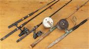 Sale 8984H - Lot 367 - Two vintage cane fishing rods both fitted with side casting reels, one by Alvey, together with other smaller modern examples.