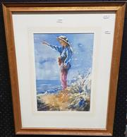 Sale 9024 - Lot 2053 - Billy Rees, Girl at the beach, watercolour, 64 x 50cm (frame)