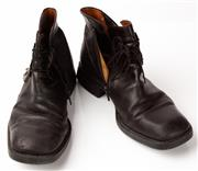 Sale 9080F - Lot 90 - A PAIR OF CESARE PACIOTTI SQUARE TOE BOOTS; with zip to side in black leather, Size 8.5