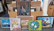 Sale 9036 - Lot 2095 - A group of 6 original paintings by Dee Burns,