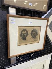 Sale 9082 - Lot 2023 - B.E Minns Husband & Wife, etching, 36/50 cm (AF - foxing), frame: 30 x 34 cm, signed lower right -