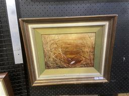 Sale 9094 - Lot 2017 - N J Tyrie Ibis in Gold 1973 oil on board, 40 x 46cm (frame) signed lower right