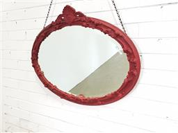 Sale 9151 - Lot 1343 - Painted early oval timber frame mirror ( 88 x 68cm)