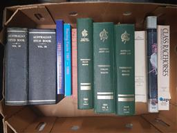 Sale 9152 - Lot 2361 - Box of Horse Racing Books incl AJC Thoroughbred Stallion Register 1980, 1984 & 1986