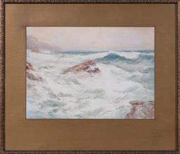 Sale 9190H - Lot 363 - Robert Sidney Cocks, waves, watercolour, signed lower right, 23cm x 34cm