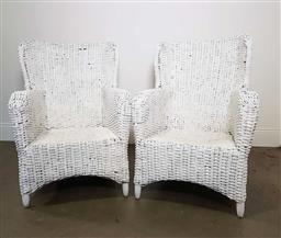 Sale 9215 - Lot 1515 - Pair of painted wicker outdoor armchairs (h:97 w:70 d:90cm)