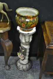 Sale 8093 - Lot 1006 - Italian Ceramic Plinth and Bowl