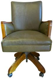Sale 8258A - Lot 29 - Green semi aniline fully re-upholstered desk chair, swivel and tilt on casters, chair originally 1920s, RRP $1390