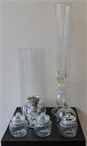 Sale 8310A - Lot 196 - A group of glassware including tall glass vase, 82cm, storm lantern, sweet jars, ice bucket and cloche