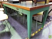 Sale 8545 - Lot 1029 - Industrial Work Table with Tooled Top & Single Drawer