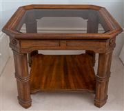 Sale 8595A - Lot 50 - A pair of walnut square side tables, with smoked glass panel tops and canted corners, and lower shelf, H 52 x W 66cm
