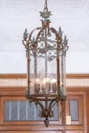 Sale 8795A - Lot 35 - A large vintage French Louis XV style bronze and etched glass four light ceiling lantern, L 110cm.