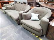 Sale 8912 - Lot 1016 - Vintage Green Upholstered Three Piece Lounge Suite