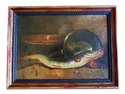 Sale 8940J - Lot 68 - Antique French fish still life oil painting  signed lower right Lambert 32 x 46 cm  oil on canvas