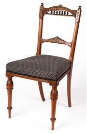 Sale 9048A - Lot 31 - Victorian carved walnut side chair circa 1880 (h:86 x w:36 x d:41cm) purchased June 1977