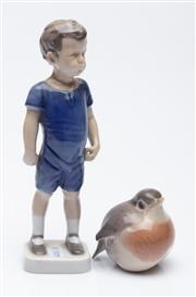 Sale 9040 - Lot 22 - A Bing & Grondahl Figure Together with A Small Bird Figure (Chip to Beak)