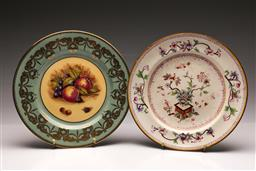 Sale 9104 - Lot 85 - A Royal Worcester Vitreous Floral Themed Cabinet Plate (Dia 27cm) Together with An Aynsley Fruit Themed Example
