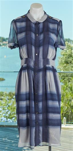 Sale 9120K - Lot 61 - A Burberry London silk short sleeve blue checkered button up dress; with silk lining, size EUR 40