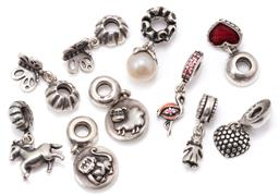 Sale 9149 - Lot 568 - TEN PANDORA SILVER TOGGLE CHARMS; some set with enamel, crystals and a cultured pearl, total wt. 37.60g.