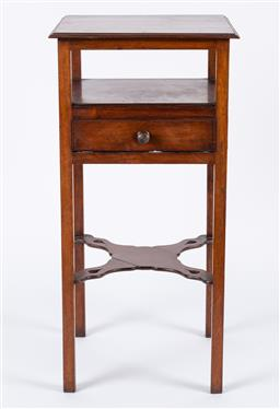 Sale 9190H - Lot 343 - Georgian night stand, the single drawer suspended over a stretcher base,  Height 84cm x Width 42cm x Depth 41cm