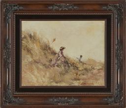 Sale 9176 - Lot 2038 - Anita Newman Lets go Fly a Kite oil on canvas board 44 x 52cm (frame) signed lower left -