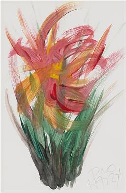 Sale 9184A - Lot 5037 - KEVIN CHARLES (PRO) HART (1928 - 2006) Floral Study acrylic on paper 28.5 x 19 cm (frame: 52 x 43 x 2 cm) signed lower right