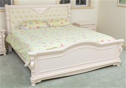 Sale 9190H - Lot 369 - A king size bed frame with button back detail and carved design in soft pink cream and gilt finish, Height 126cm x Width 208cm x Len...