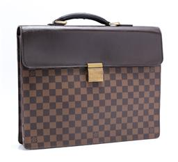Sale 9253J - Lot 504 - A VINTAGE LOUIS VUITTON DAMIER EBENE CANVAS ALTONA BRIEFCASE; with brown leather top and rolled handle, brass hardware with brown su...