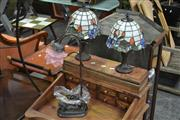 Sale 8054 - Lot 1042 - Pair Of Leadlight Shade Table Lamps & Another