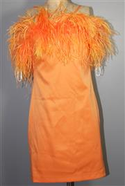 Sale 8087B - Lot 337 - A LISA HO DRESS AND ANOTHER; Lisa Ho dress in Orange with feather collar and Bariano Australia in blue chiffon both size 8