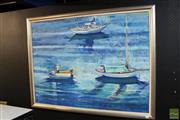 Sale 8203A - Lot 12 - Chris Johnson (XX) - Fishing Boats 92 x 122cm
