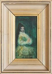 Sale 8250 - Lot 10 - William Drew 1928-1983 Spanish Dancer oil on board signed lower right