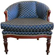 Sale 8258A - Lot 30 - Louis style mahogany bergere with navy blue and gold upholstery with matching footstool, immaculate condition, RRP $1450