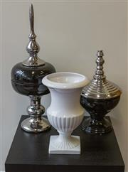 Sale 8310A - Lot 197 - Three ornamental items including lidded jars and white ceramic vase (damage to finials)