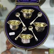 Sale 8365 - Lot 12 - English Hallmarked Sterling Silver Open Salts (4) By Josiah Williams & Co In Case, weight - 154g