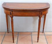 Sale 8550H - Lot 32 - An antique English George III satinwood fold over double gateleg card table C: 1790, satinwood cross banded in tulipwood and mahogan...