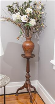 Sale 8575H - Lot 57 - A Victorian timber pedestal & Blackboy vase, with faux flowers H stand: 76cm
