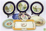 Sale 8635 - Lot 94 - Cabinet Plate Collection Including Royal Crown Derby And Worcester (Some Repairs And Cracks)