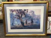 Sale 8720 - Lot 2094 - D Arcy Doyle - The End of the Muster offset lithograph ed. 21/500, 78 x 99cm (frame) signed in pencil lower right -