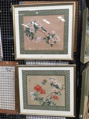 Sale 8726 - Lot 2078 - Pair of Chinese Botanical Still Life Watercolours on Silk, each 51 x 56cm (frame size)