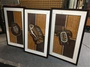 Sale 8776 - Lot 2043 - Set of (3) Aboriginal Paintings Crab, Turtle and Fish acrylic on canvas, 75 x 55cm framed