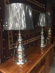 Sale 8839 - Lot 1318 - Pair of Large Chrome Table Lamps (783)