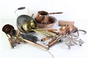 Sale 8957 - Lot 33 - A collection of  brass, copper and iron wares including a kettle, pan and ladles
