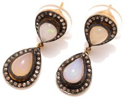 Sale 9046 - Lot 546 - A PAIR OF OPAL AND DIAMOND EARRINGS; double pear shape clusters each centring a cabochon crystal opal surrounded by rose cut diamond...