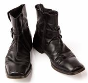 Sale 9080F - Lot 38 - A PAIR OF CESARE PACIOTTI SQUARE TOE ZIP UP BOOTS; with side buckles in black leather, Size 8.5