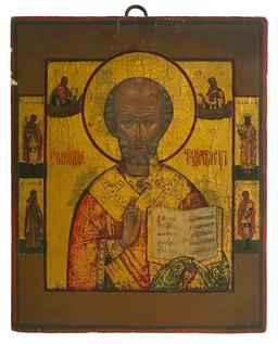 Sale 9123J - Lot 256 - Russian School Early 19th Century Orthodox Icon of Saint Nicholas surrounded by scenes from his life Tempra and gold leaf on wooden ...