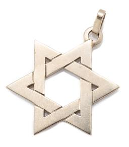 Sale 9186 - Lot 388 - A 9CT GOLD STAR OF DAVID PENDANT; size 26 x 31 mm, wt. 4.30g.