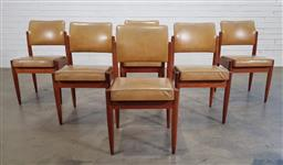 Sale 9188 - Lot 1183 - Set of six timber framed dining chairs in mustard yellow upholstery (h:78 x w:43 x d:51cm)