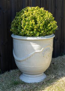 Sale 9248H - Lot 21 - A cream colored Anduze style pot, planted with a topiary sphere  height 58 x diameter 54cm Total height 98cm